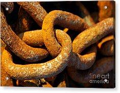 Rusty Chain Acrylic Print by Carlos Caetano