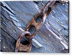 Rusty Chain On The Rocks Acrylic Print by Tom  Wray