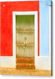 Rusty Iron Door Acrylic Print by Perry Webster