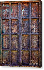 Rusty Iron Window Acrylic Print by Carlos Caetano