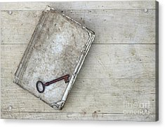 Acrylic Print featuring the photograph Rusty Key On The Old Tattered Book by Michal Boubin