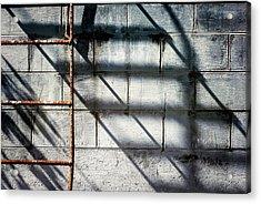 Rusty Ladder On Blue Industrial Art Acrylic Print