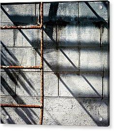 Rusty Ladder On Blue Industrial Art Square Acrylic Print
