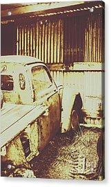 Rusty Pickup Garage Acrylic Print