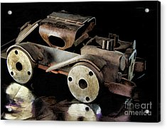 Acrylic Print featuring the photograph Rusty Rat Rod Toy by Wilma Birdwell