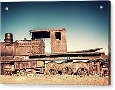 Rusty Train In Uyuni, Bolivia Acrylic Print