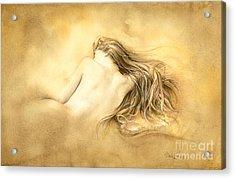 Ruw Umber Nude Acrylic Print by David Evans