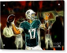 Ryan Tannehill - Miami Dolphin Quarterback Acrylic Print by Paul Ward