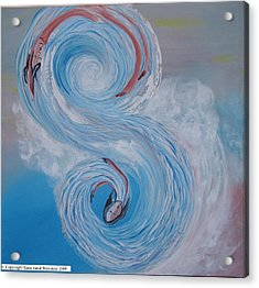 Acrylic Print featuring the painting S Waves by Sima Amid Wewetzer
