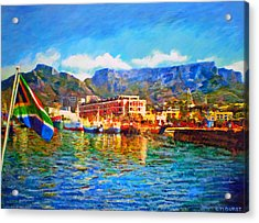 Sa Flag At The Waterfront Acrylic Print by Michael Durst