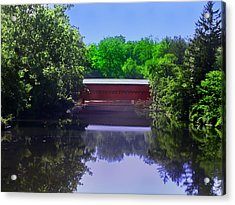 Sachs Covered Bridge In Gettysburg  Acrylic Print by Bill Cannon