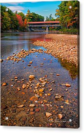 Saco River Bridge 8942 Acrylic Print by Dan Beauvais
