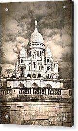 Sacre Coeur Sepia Acrylic Print by Jane Rix