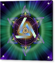 Acrylic Print featuring the digital art Sacred Geometry 713 by Endre Balogh
