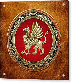 Sacred Golden Griffin On Brown Leather Acrylic Print