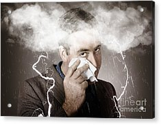 Sad And Unhappy Businessman Crying A Head Storm Acrylic Print by Jorgo Photography - Wall Art Gallery