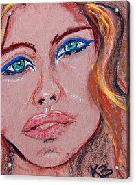 Sad Blue Eyes-framed Acrylic Print by Kathryn Barry
