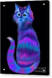 Acrylic Print featuring the painting Sad Eyed Colorful Cat by Nick Gustafson