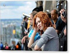Sad Girl In The Crowd Acrylic Print by Evgeny Ivanov