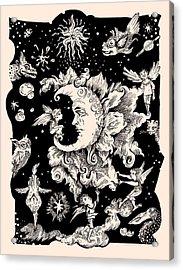 Sad Moon Acrylic Print by Theresa Taylor Bayer