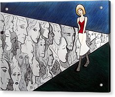 Acrylic Print featuring the drawing Sad Stroll For Down Doll by Danielle R T Haney