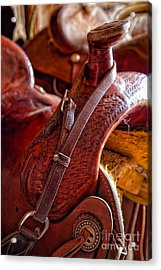 Saddle In Tack Room Acrylic Print by Inge Johnsson