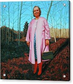 Sadie In Pink Acrylic Print by Allan OMarra
