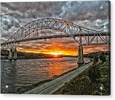 Sagamore Bridge Sunset Acrylic Print