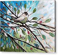 Sage Glimmering Songbird  Acrylic Print by Elizabeth Robinette Tyndall