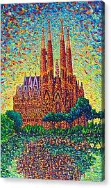 Sagrada Familia Barcelona Modern Impressionist Palette Knife Oil Painting By Ana Maria Edulescu Acrylic Print