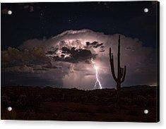 Acrylic Print featuring the photograph Saguaro Lit Up By The Lightning  by Saija Lehtonen