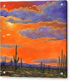 Saguaro Sunset Acrylic Print by Johnathan Harris