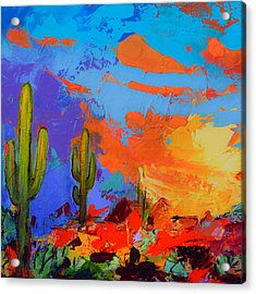 Acrylic Print featuring the painting Saguaros Land Sunset By Elise Palmigiani - Square Version by Elise Palmigiani