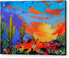Acrylic Print featuring the painting Saguaros Land Sunset by Elise Palmigiani
