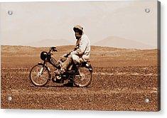 Acrylic Print featuring the photograph Sahara Biker by Ramona Johnston