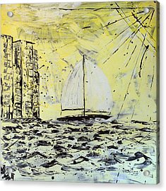 Sail And Sunrays Acrylic Print by J R Seymour