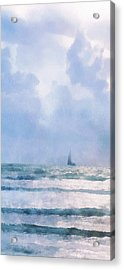 Acrylic Print featuring the digital art Sail At Sea by Francesa Miller