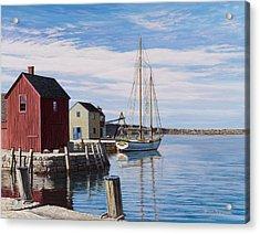 Sail Boat At Rockport Acrylic Print by Bruce Dumas