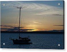 Sail Boat At Sunset Acrylic Print