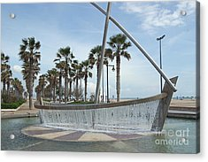 Sail Boat Fountain In Valencia Acrylic Print