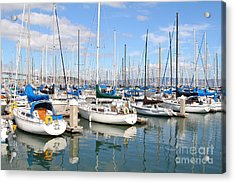Sail Boats At San Francisco China Basin Pier 42 With The Bay Bridge In The Background . 7d7664 Acrylic Print