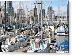 Sail Boats At San Francisco China Basin Pier 42 With The San Francisco Skyline . 7d7675 Acrylic Print