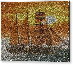 Acrylic Print featuring the mixed media Sail Ship Coins Mosaic by Paul Van Scott