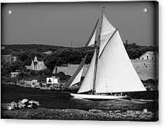 sailboat - a one mast classical vessel sailing in one of the most beautiful harbours Port Mahon Acrylic Print