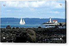 Sailboat And Lighthouse Acrylic Print