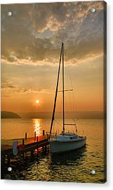 Sailboat And Sunrise Acrylic Print by Steven Ainsworth