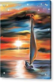 Sailboat And Sunset Acrylic Print