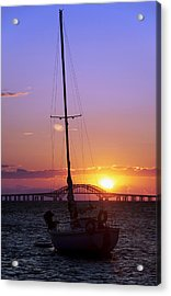 Sailboat And The Bridge At Sunrise Acrylic Print by Vicki Jauron