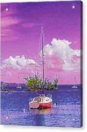 Sailboat At Reeds Bay Hilo Aloha Acrylic Print