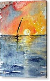 Sailboat At Sunrise Acrylic Print by Kovacs Anna Brigitta